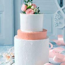 Obrázek Bílý svatební raw dort s oranžovým patrem